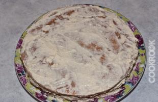 коржи медового торта, смазанные кремом