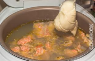Сливочный суп с лососем в мультиварке