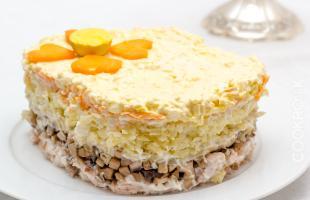 салат слоеный с копченой куриной грудкой и шампиньонами