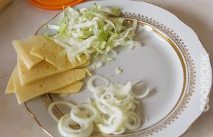 сыр, лук, капуста