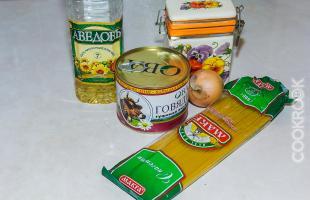 продукты для рецепта макароны с тушенкой