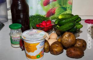 продукты для приготовления окрошки
