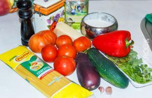 продукты для приготовления пасты с овощами