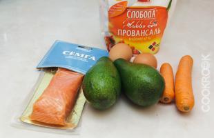 продукты для рецепта салат с авокадо и семгой