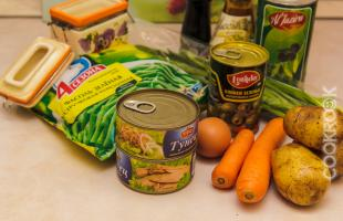 продукты для салата с тунцом и фасолью