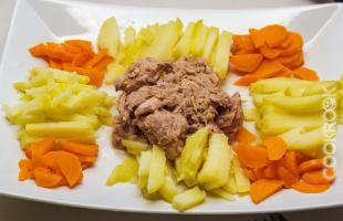 филе тунца с картофелем и морковью