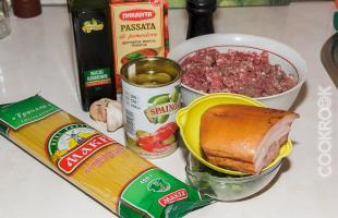продукты для спагетти болоньезе