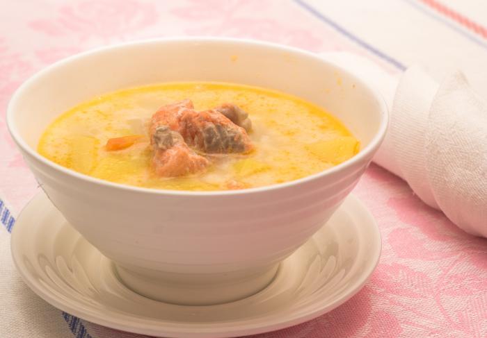 Рецепт сливочный суп с лососем в мультиварке