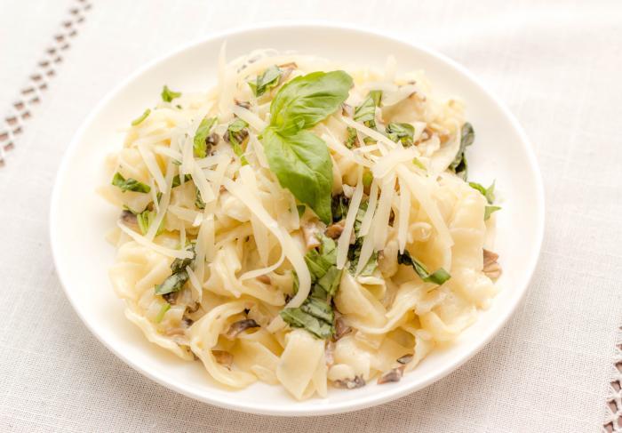 Рецепт пасты Феттучине с грибами и базиликом