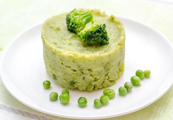 Рецепт картофельного пюре с брокколи и зелёным горошком