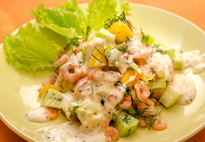Рецепт салата из манго с креветками